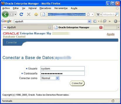 Configurar usuario en base de datos Oracle Database de APEX