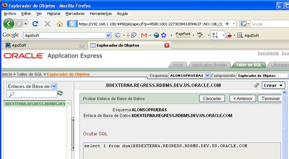 Conectar APEX con una base de datos Oracle externa - Crear enlace a base de datos externa DBLINK en APEX