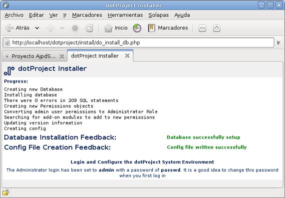 Instalar dotProject en un equipo con GNU Linux Debian, Apache, PHP y MySQL