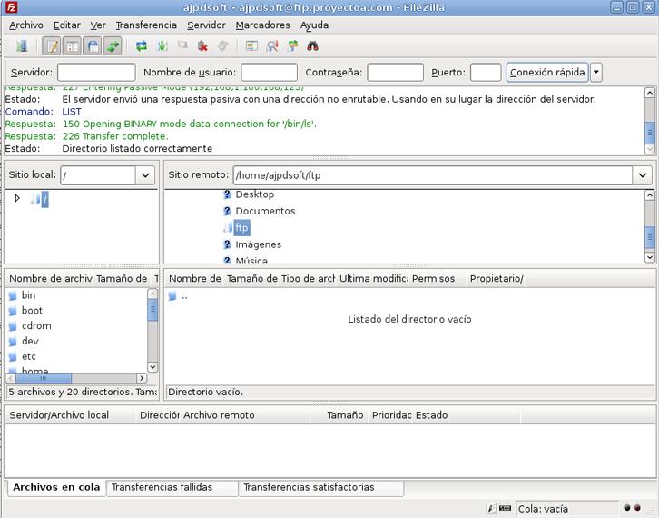 Acceso a un servidor FTP para subir y descargar ficheros con FileZilla en Linux