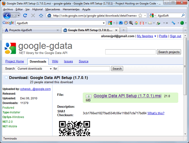 Descargar e instalar Google Data API SDK