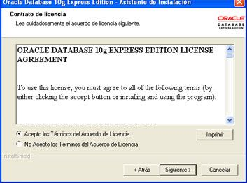 Instalar Oracle Database 10g Express Edition - Acuerdo de licencia