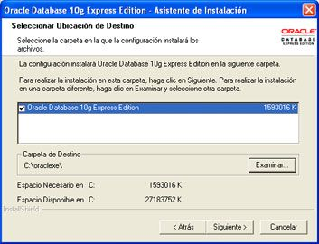 Instalar Oracle Database 10g Express Edition - Ruta de instalación