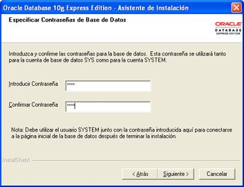 Instalar Oracle Database 10g Express Edition - Contraseña para el usuario SYS y SYSTEM