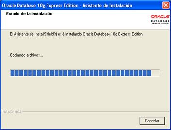Instalar Oracle Database 10g Express Edition - Inicio del proceso de copia de ficheros