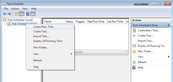 Programador de tareas de Windows Seven