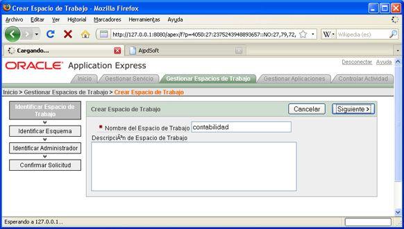 Instalación de APEX 3.2 en Oracle XE - Ventana de administración de APEX