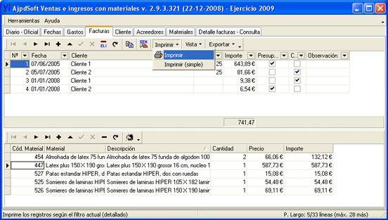 AjpdSoft Ventas e Ingresos con materiales
