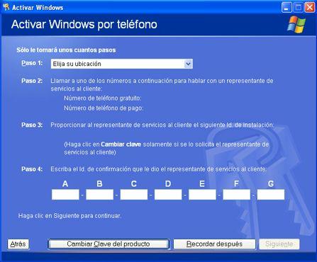 Cambiar la clave de producto de licencias en un equipo con Windows XP