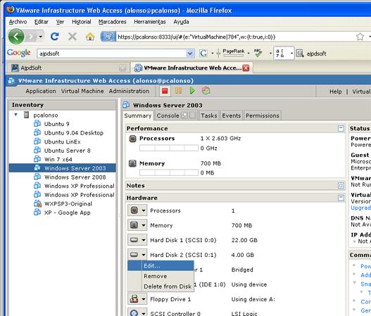 Ampliar y extender un disco duro de una SAN en un equipo con Windows Server 2003