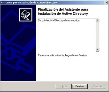 Despromoción de controlador de dominio, desinstalación Active Directory