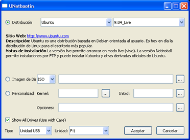 Cómo arrancar un equipo con un pendrive y Linux Ubuntu 9.04 Live