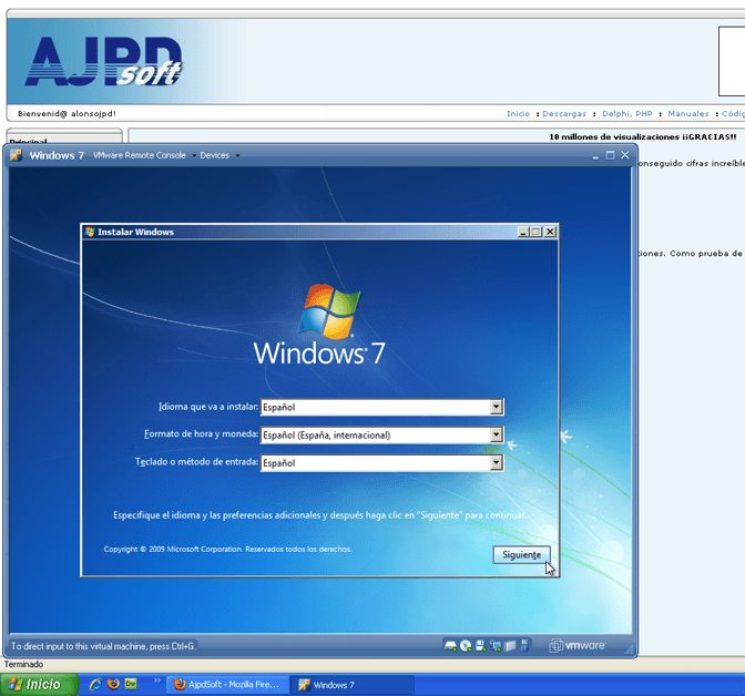 Instalar Microsoft Windows 7 Ultimate virtualizado en VMware Server 2.0.1