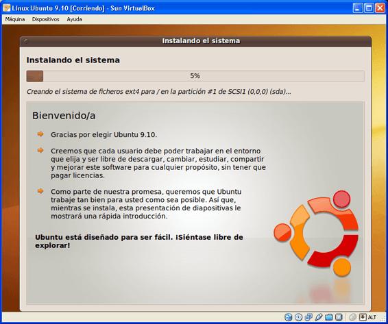 Instalar Linux Ubuntu 9.10 virtualizado con Sun VirtualBox 3.0.12