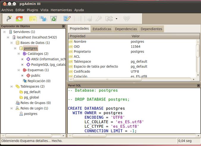 Instalar el motor de base de datos PostgreSQL 8.4 en Linux Ubuntu 10