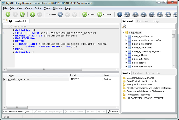 Cómo crear trigger en MySQL Server 5, disparadores para auditoría de tablas