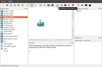Virtualización de dispositivos de red router Cisco con GNS3 en Linux Ubuntu