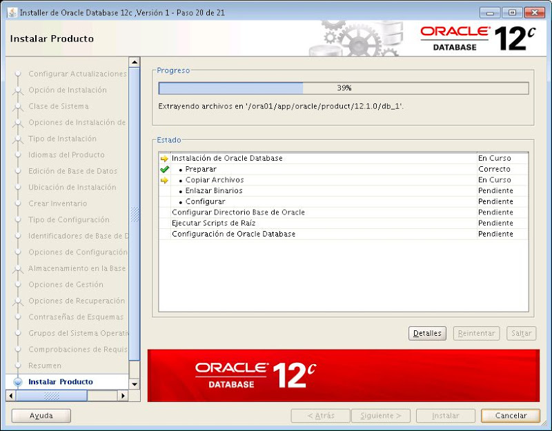 Instalar Oracle Database 12c en Linux CentOS 7