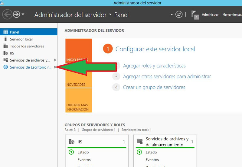 Instalar rol Escritorio Remoto RemoteApp RDWeb Windows Server 2012 R2