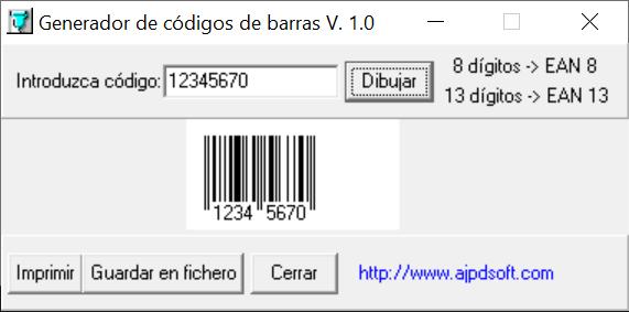 AjpdSoft Generador de códigos de barras