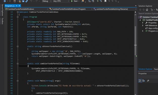 Cómo hacer una aplicación de consola MS-DOS para cambiar la imagen de fondo de pantalla en Windows con Visual Studio .Net C# CSharp