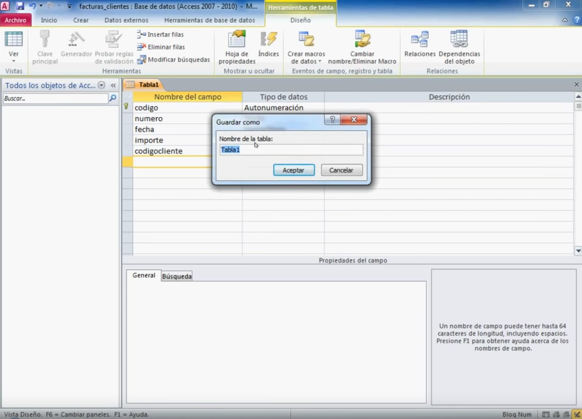 Videotutorial | Crear base datos Access con tablas relacionadas facturas, detalle, clientes