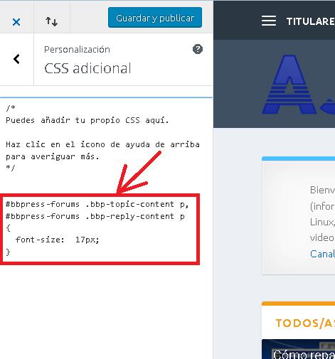 Modificar estilo CSS en WordPress sin usar plugins ampliar tamaño de letra del foro bbPress