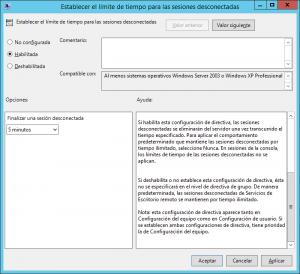 Limitar tiempo de sesión de usuarios en Windows Server 2012