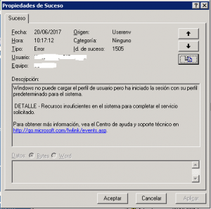El error completo con ID 1505 y 1508 en Windows Server 2003