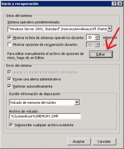 Uso de la memoria RAM y virtual en Windows Server 2003 x86 - PAE