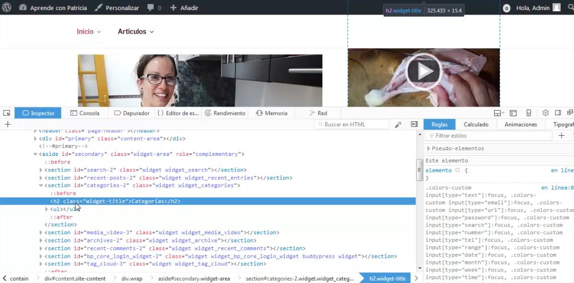 Vídeo | Modificar estilo visual CSS de sitio web WordPress permanentemente