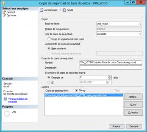 Antes de continuar, es imprescindible hacer copia de seguridad de la base de datos SQL Server Express