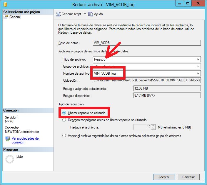 Liberar espacio en BD SQL Server de VMware vCenter solucionar error vCenter