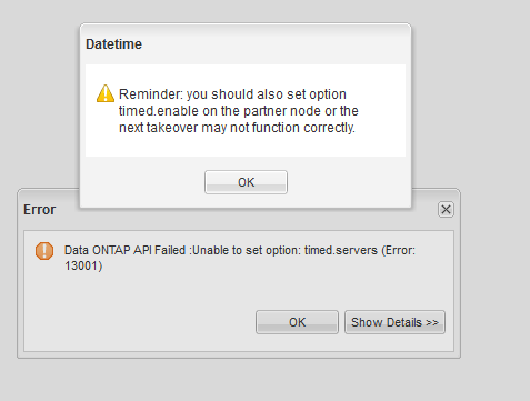 Establecer y configurar hora en SAN NetApp desde OnCommand System Manager