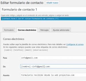 Formulario de contacto de WordPress con plugin Contact Form 7