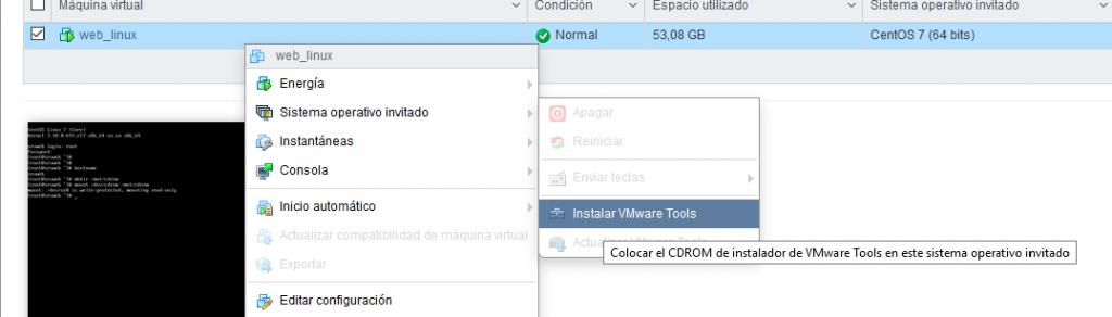 Instalar VMware Tools oficiales en MV Linux CentOS 7 Minimal sobre VMware ESXI 6.5
