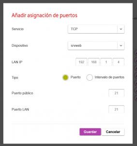 Habilitar acceso externo a nuestro servidor FTP haciendo NAT, mapeo o redirección de puertos