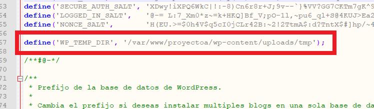 Configuración de WordPress para establecer carpeta temporal