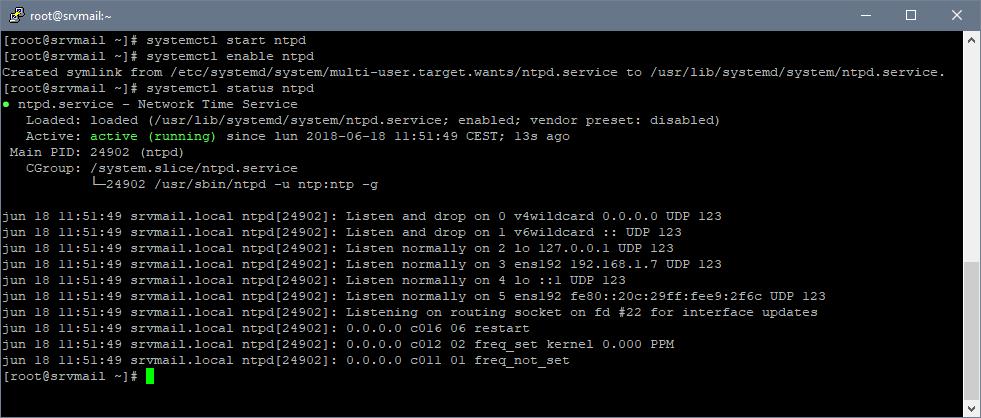 Instalar y habilitar NTP en Linux CentOS 7