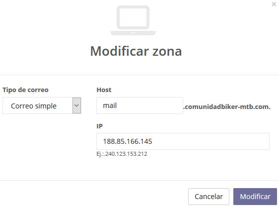 Registro de dominio y establecimiento de zona MX en DNS