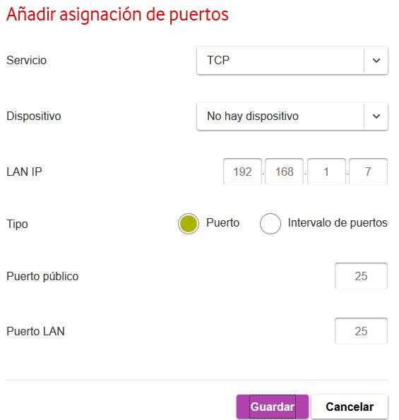 Mapeo o NAT de puertos en cortafuegos perimetral o router de nuestra red