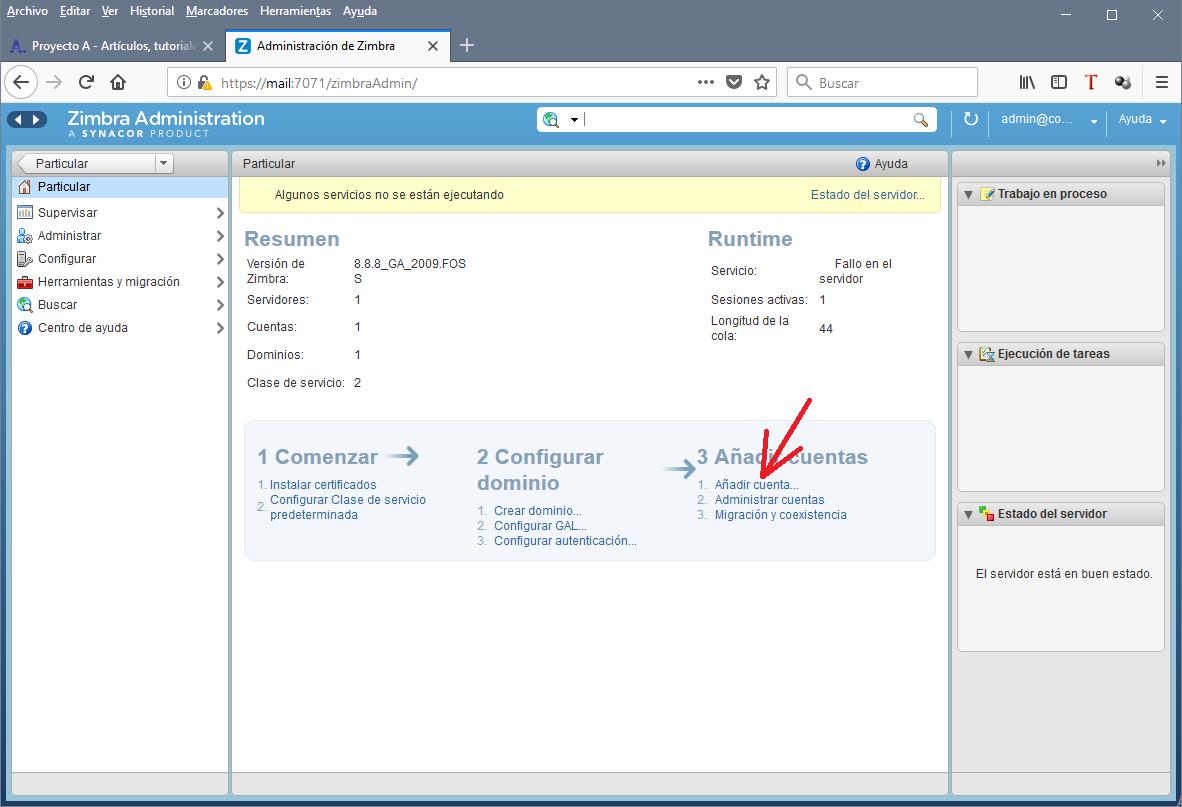 Acceso a la consola de administración del servidor de mail Zimbra