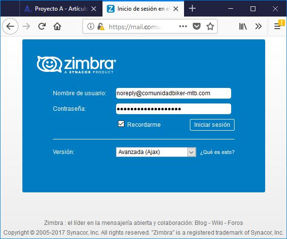 Acceso a correo electrónico webmail de Zimbra desde navegador web