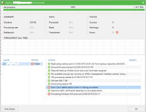 El error Can't delete replica when it is being processed en Veeam Backup & Replication