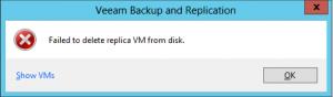 Solución al error Can't delete replica when it is being processed