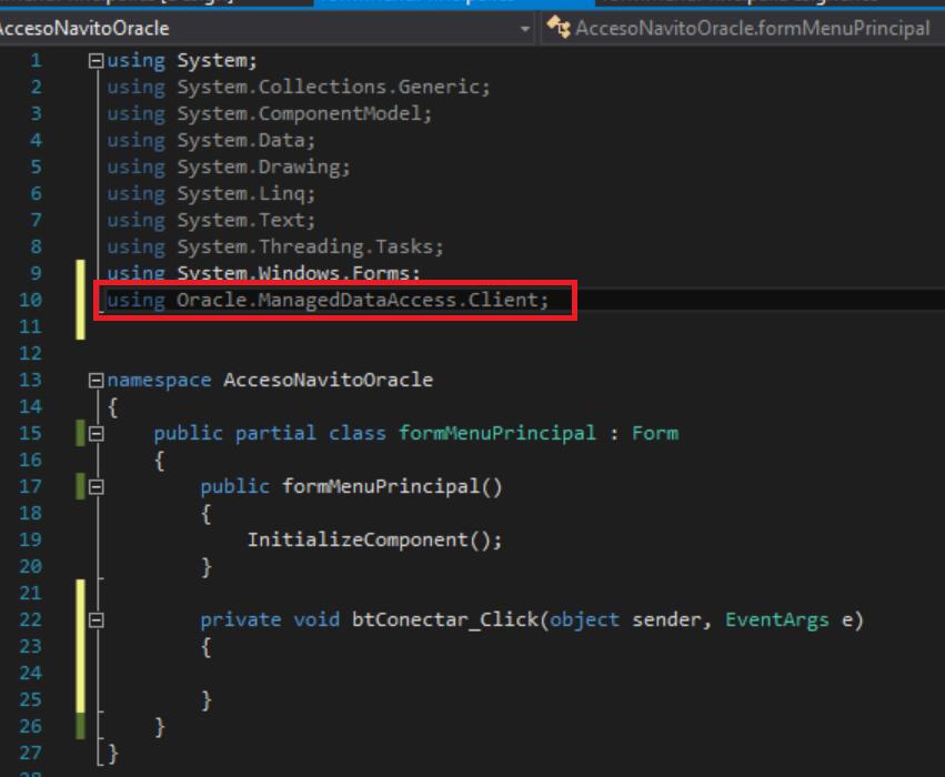 Acceso nativo a Oracle con ODAC y Visual Studio  Net