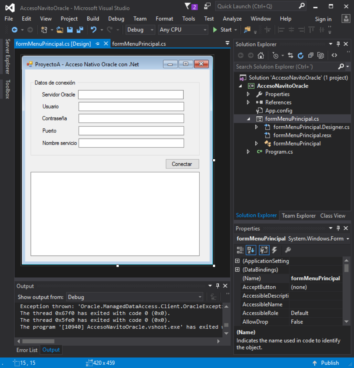 Acceso nativo a Oracle con ODAC y Visual Studio .Net Community C Sharp C#