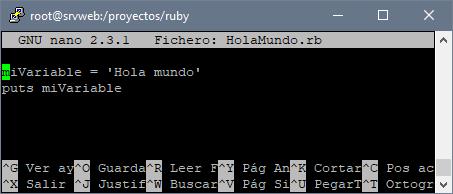 Mi primera aplicación Ruby Hola Mundo