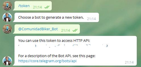 Establecer el token para nuestro Bot en Telegram