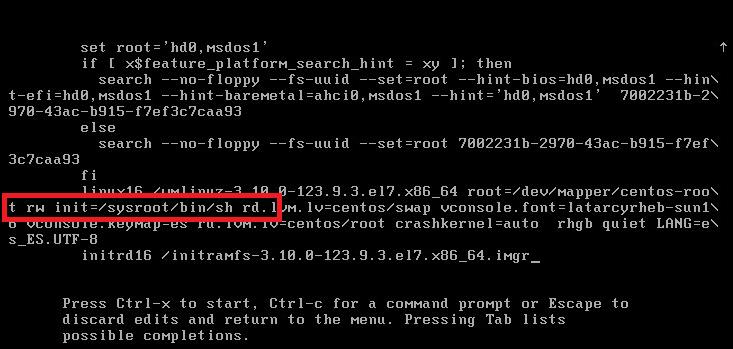 Resetear/Modificar la contraseña del superusuario root en Linux CentOS 7 cuando se nos ha olvidado o la hemos perdido
